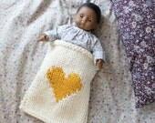 Doll Blanket Hi, Heart or XO Hand Knit