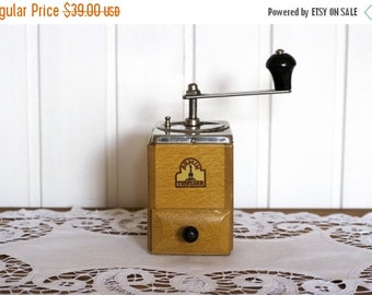 SALE Wooden Coffee Grinder Mocha Espresso- Golden Brown Armin Trossser- Vintage German