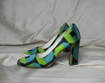 Spectacular Prada Peau de Soie Heels in Geometric Black, Turquoise, and Lime Green size 7 to 7 1/2 or EU 37 1/2