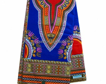 Royal Blue  Dashiki Fabric/ African Fabric/ Ankara print/ African print/ Dashiki print/ Dashiki dress/ 6 yards/ DS52