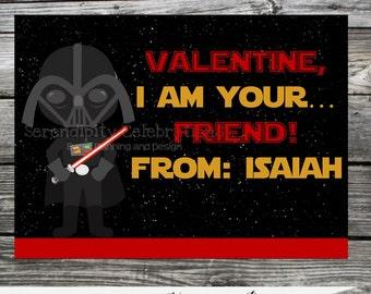 DIY Printable Favor Cards- Star Wars Valentines Day Tags -Holiday Cards -School Treats -Holiday -Star Wars -Darth Vader -Valentine