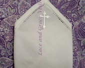 First Communion Hankie with Cross, White