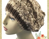 Slouchy Hat Hand knit Ladies Lacy you choose Caron Simply Soft Yarn Made to Order