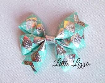 Aqua Argyle pinwheel hair clip diamond girl toddler
