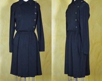 Vintage St. John Marie Gray Black Knit Military Style Dress