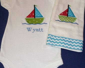 Appliqué and personalized onesie and burp cloth