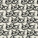 Mirre in Ebony by Lotta Jansdotter Hemma Collection for  Windham Fabric - Lotta Jansdotter Black and White Cats Cat Fabric Cat Quilt