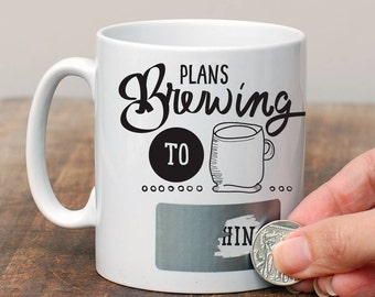 Plans Brewing Secret Message Mug/ Retirement Gift/ Hidden Message Gift