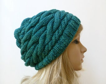Wool Cable Slouchy Beanie-  Women Knit Hat - Hand Knit Cabled Merino Wool Acrylic Slouch Beanie - Teal Heather Slouchy Hat - ClickClackKnits