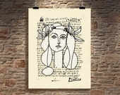 """Fine Art Print - """"Line Drawing of Francoise Gilot - Picasso"""", 11"""" x 14"""", printed on a letter written by Picasso, Modern Art, Giclee print"""