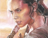 Full Color Drawing Print of Colored Pencil Drawing of Daisy Ridley as Rey w/ BB-8 from Star Wars: The Force Awakens (8.5 x 11)