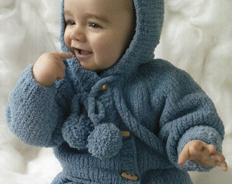 baby knitting pattern jacket  / cardigan hooded or collared 16 -  22 in chest  birth to 18m dk