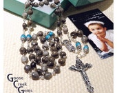 Home Grown Gray Job's Tears Rosary with Turquoise Magnesite Gemstone Our Father Beads.