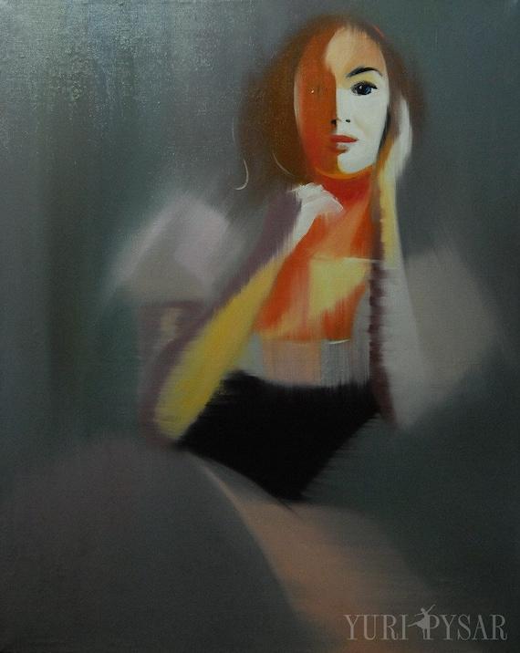 Original Artwork Grey, Figurative painting, Ballerina painting Giselle Ballet, Oil Painting, Woman Art Canvas
