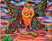 Zen Cat Art Print on Paper 8.5/11 inch