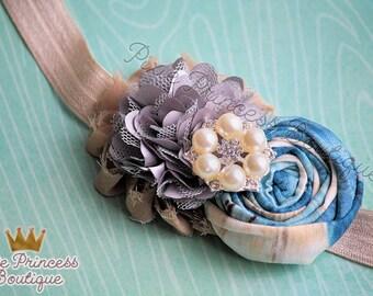 Cooler Days - Headband, Baby Headband, Photography Prop, Couture Headband, Hair Clip, Fall Headband, Autumn Headband, Rolled Rosette
