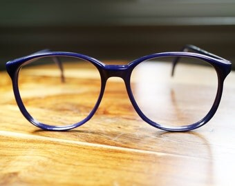 Navy Blue Large Round 1980s Vintage Eyeglasses 56/20 mens womens discount priced