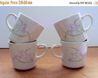ON SALE Four Corning NY Coffee/Tea Mugs - Wild Rose Pattern