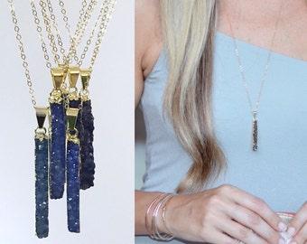 Dark Blue Druzy Bar Necklace / Silver or Gold Denim Blue Druzy / Gift for Her / Minimalist Pendant / Boho Womens Jewelry / Genuine Quartz