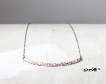 Curved Gold Bar Necklace / Rose Gold Bar Necklace / Textured Gold Bar / Curved Bar Pendant / Womens Jewelry / Gift for Her /Modern Boho Chic