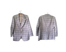 Vintage 60s 70s Mod Blazer 44 R Summer Sportcoat Plaid Checks Blue Brown Beige Rockabilly 1960s Mens Coat Made in USA Kingsridge