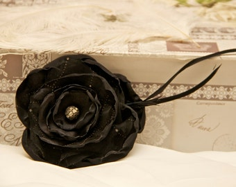 vintage wedding flower hair piece black fabric flower beaded photo prop gatsby hair clip fabric flower gatsby hair girl shabby chic hair