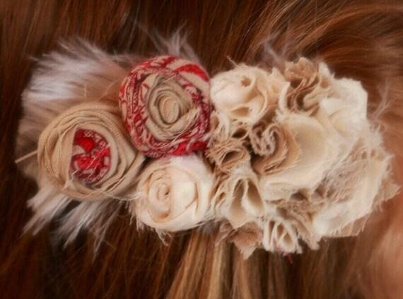 flower hair clip, ivory and cream hair clip, hair clip, boho hair clip, shabby chic hair clip, girl hair clip, flower girl hair clip