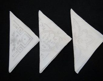 Three Vintage White Embroidered Handkerchiefs