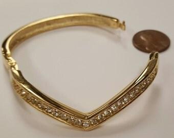 Vintage Gold Plated Crystal Rhinstone V Design Hinged Cuff Bracelet   S541