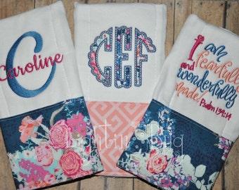 Monogram Floral Burp Rag Set