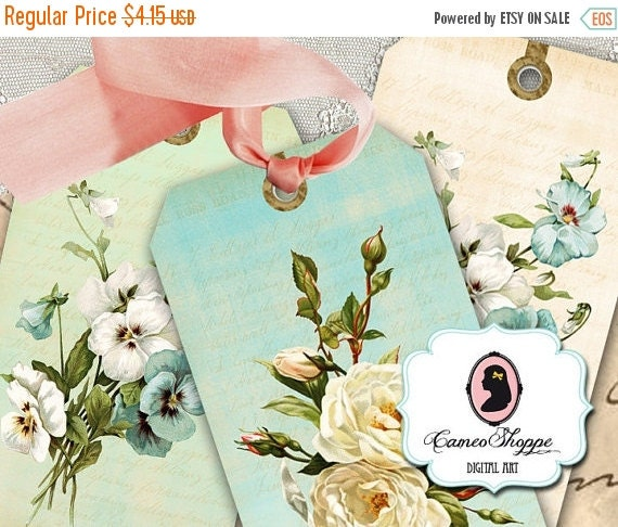 75% OFF SALE SHABBY Violet and Rose Digital Collage Sheet Printable Hang Tags DIgital Download