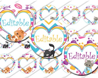 Cat Kitten Editable  Bottle Cap Images 1 inch circle image sheet Digital Collage INSTANT DOWNLOAD Clipart