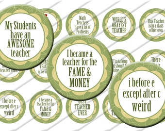 Teacher Teaching Bottle Cap Images 1 inch circle image sheet Digital Collage INSTANT DOWNLOAD Clipart