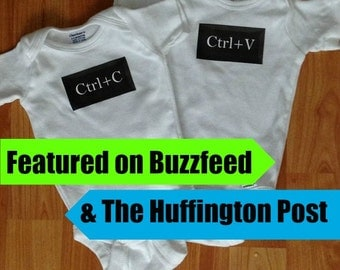 Ctrl c, Ctrl v Twins Baby Onesie Copy and Paste Whimsy Onesie funny computer nerdy geeky cute kids clothing