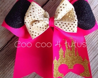 Pink Minnie cheer Bow