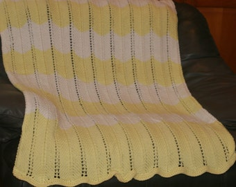 Yellow and White Crochet Afghan