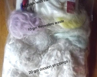 A4 Pack of SILK FIBRES for making your own Silk Paper, using the Ironing Method - with link to instructions on julzcrafts.com