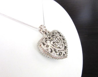 Silver Filigree & Crystal Puffy Heart Pendant Necklace Silver Plated with SP Snake Chain 17 Inches