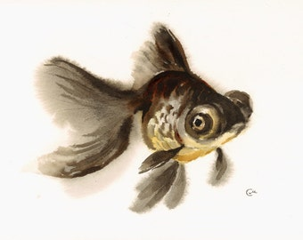 Goldfish - Original Watercolor Painting 9x12 inches Black Moor Fish