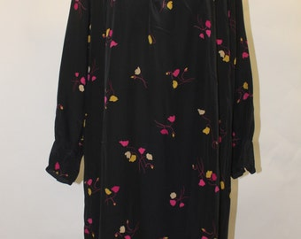 DISEGNI By Flora Kung Vintage 1980's  Black Silk with Bright Pink and Yellow Flowers Dress SZ 6