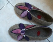 felt slippers handmade slippers wool slippers warm winter shoes woman shoes