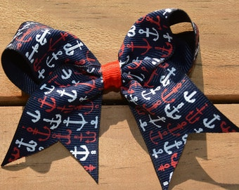 """Red White and Blue 4th of July Nautical Anchors Ribbon 4"""" Medium Hair Bow Clip Infant Toddler Girls"""