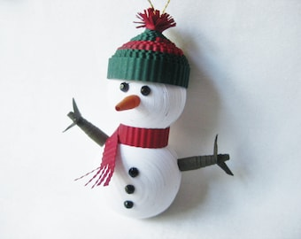 Paper  Quilling Snowman ornament, junior sized