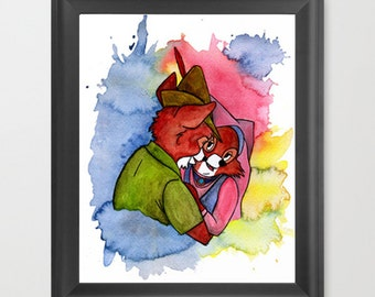 Robin Hood INSTANT DOWNLOAD, Disney, Maid Marian, watercolor, instant download, couple, fox, decor, fine art