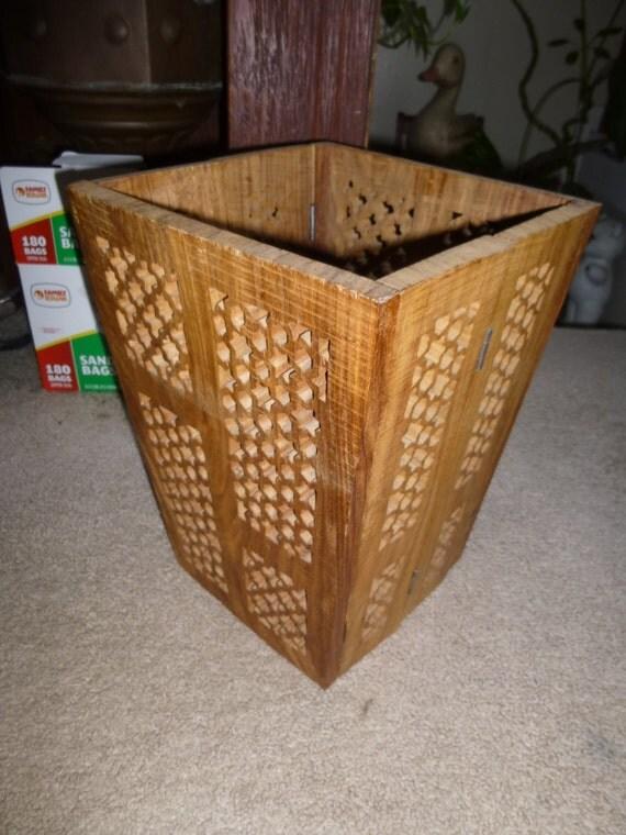 Funky folding indian rosewood basket folds flat for storage - Collapsible waste basket ...