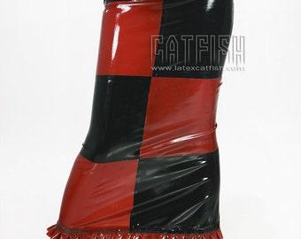 Checkered n Chic Latex Skirt Fashion Rubber Skirt