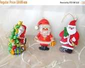 50% OFF SALE Vintage Santa Ornaments, Vintage Collection, Instant Collection, Painted Wooden Santa, Metallic Ceramic Santa and Tree, Rubber