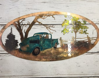Vintage truck country scene metal art