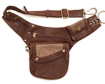 Leather Hip Pouch: with embossed detail  bumbag pocket belt fanny pack utility belt travel festival