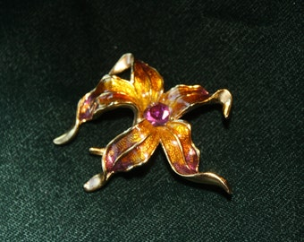 Vintage Gold and Purple Enamel Flower Brooch Pin